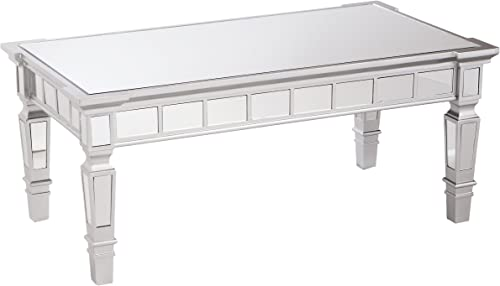 Southern Enterprises Glenview Mirror Cocktail Table – Mirrored Surface w Silver Matte Trim – Glam Style