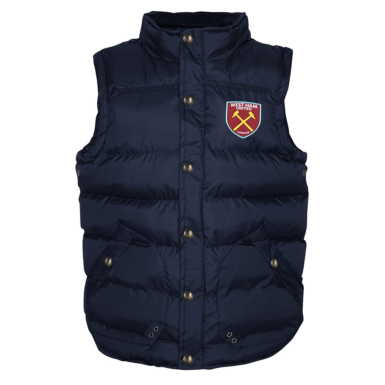 West Ham United Fc Official Soccer Gift Boys Padded Body Warmer Jacket Gilet