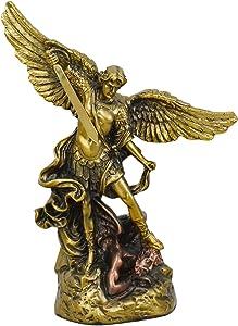 High-End Decor - Saint Michael The Archangel Sculpture Statuette - Religious Art Home Metallic Decoration - Brass/Copper (7 inches)