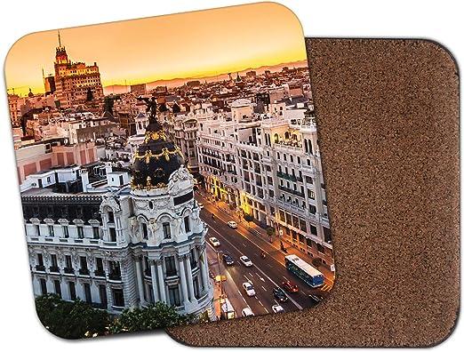 Posavasos Gran Vía Madrid España – City Travel Sunset Sunrise Holiday Gift #14911: Amazon.es: Hogar