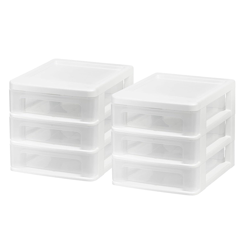 IRIS USA, Inc. CDD-XS3 Mini Desktop 3-Drawer Unit, White, 2 Pack