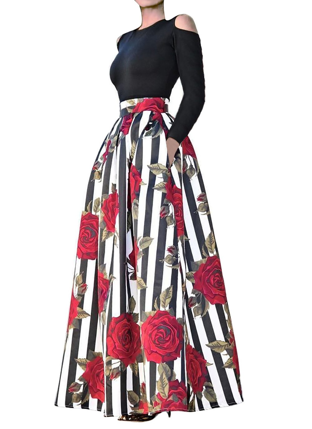 VLUNT Women's African Floral Print A Line Long Skirt Pockets Two Pieces Maxi Dress Medium Red