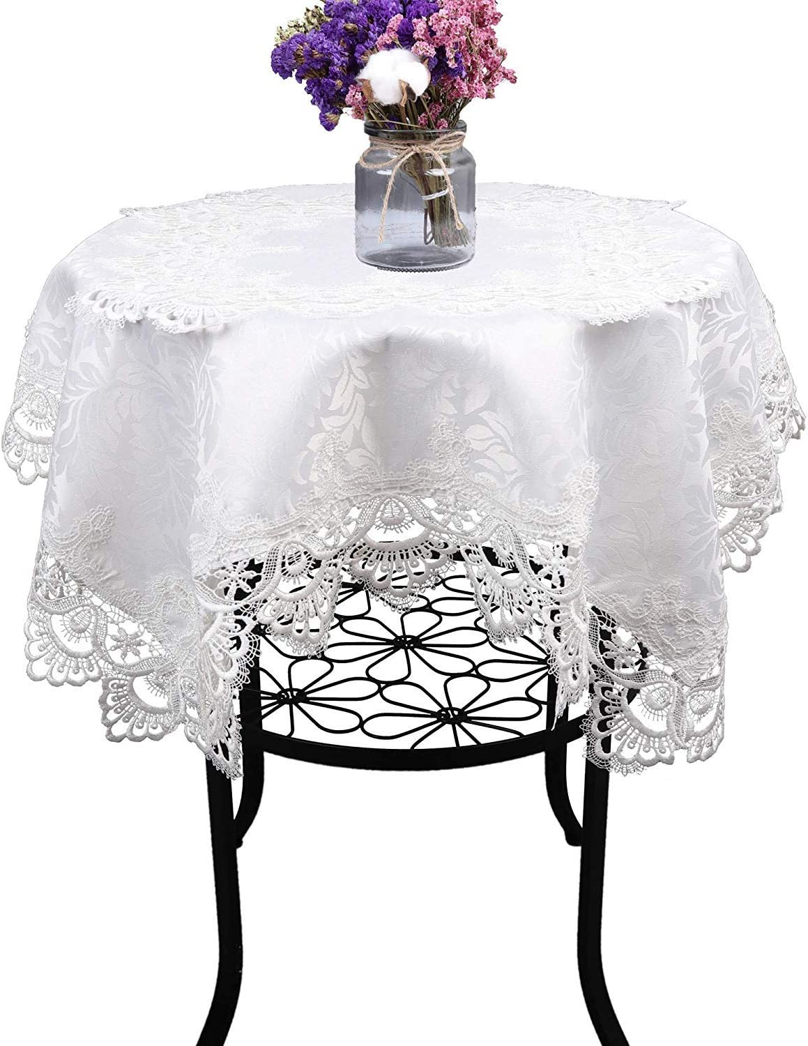 White Rectangle lace tablecloths for Wedding Party Home and Kitchen