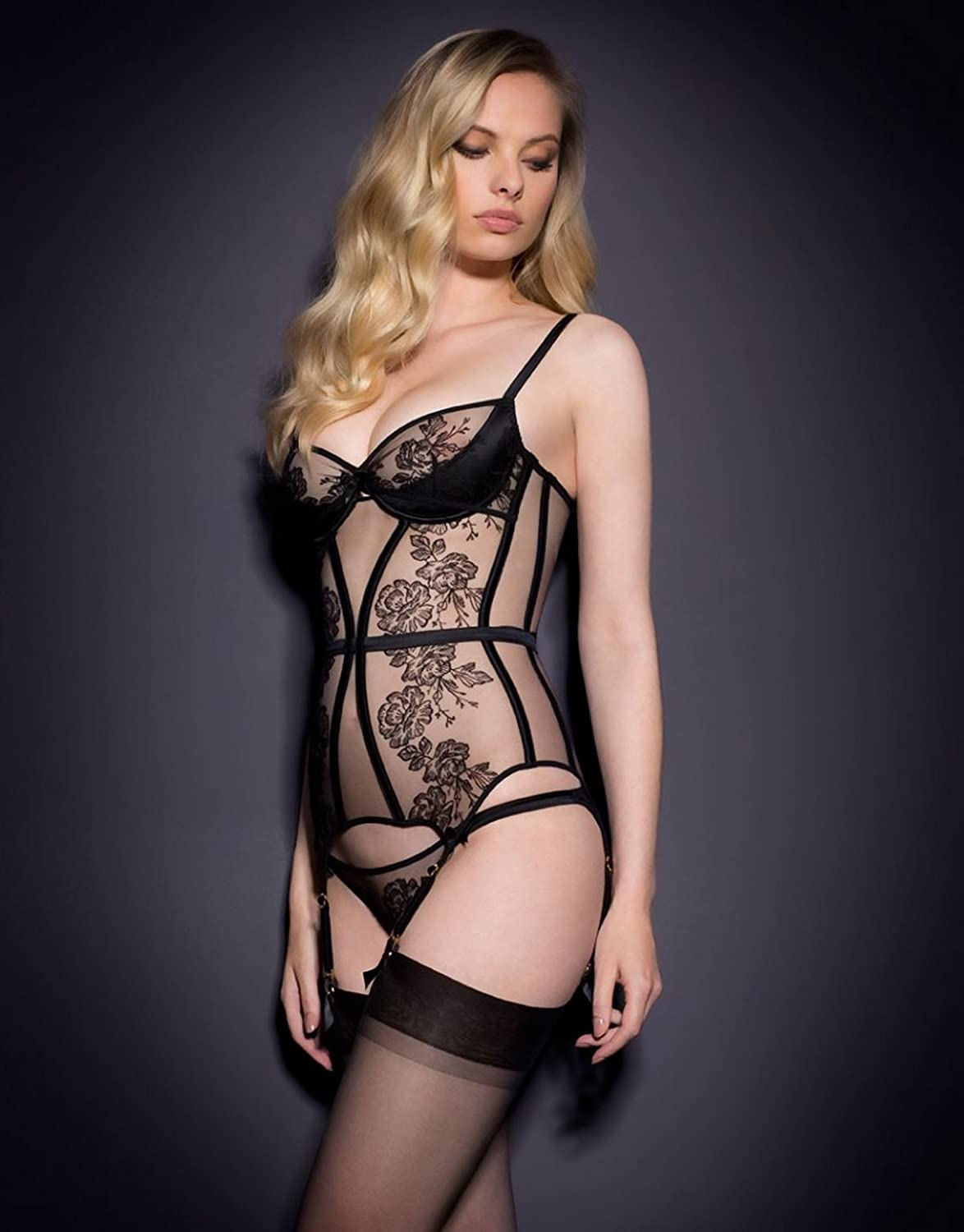 bba4bc264 Dioni Tabbers-Agent Provocateur Black Sheer Lingerie with Black Stockings  Mid Photo 8 inch x 10 inch PHOTOGRAPH at Amazon s Entertainment  Collectibles Store