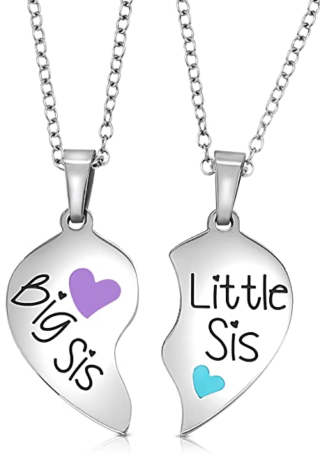 2 Piece Matching Big Sis Little Sis Split Heart Halves Sisters Necklace Jewelry