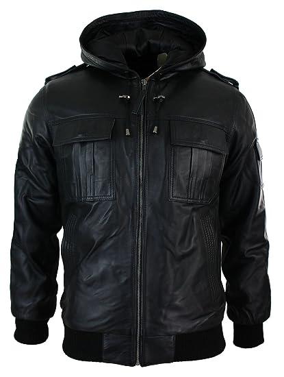 75e45e912fd Aviatrix Mens Real Leather Jacket/Hooded/Black/Slim Fit: Amazon.co ...