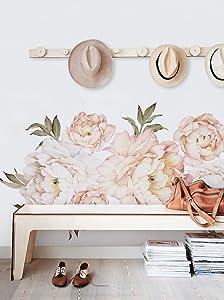 Simple Shapes Peony Flowers Wall Sticker - Vintage Peach