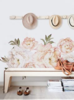 Simple Shapes Peony Flowers Wall Sticker   Vintage Peach   By