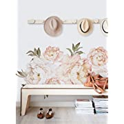 Simple Shapes Peony Flowers Wall Sticker - Vintage Peach