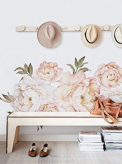 1a656c8d801 Simple Shapes Peony Flowers Wall Sticker - Vintage Peach - - Amazon.com