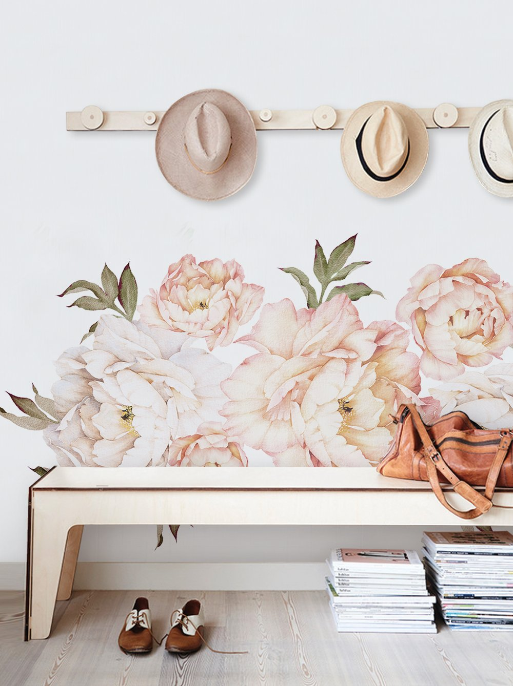 Peony Flowers Wall Sticker - Vintage Peach - by Simple Shapes
