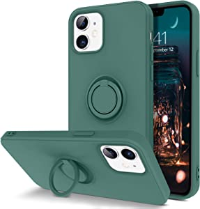 "BENTOBEN Compatible with iPhone 12 Case and iPhone 12 Pro Case, Slim Silicone Soft Rubber with 360° Ring Holder Kickstand Car Mount Supported Protective Cute Phone Cases 5G 6.1"" (2020), Midnight Green"