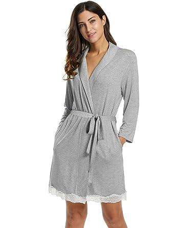 120d38793e2bf8 L'AMORE Damen Kimono Morgenmantel Baumwolle Bademantel Nachtwäsche  Schlafanzug mit feiner Spitzenkante Schwarz Grau