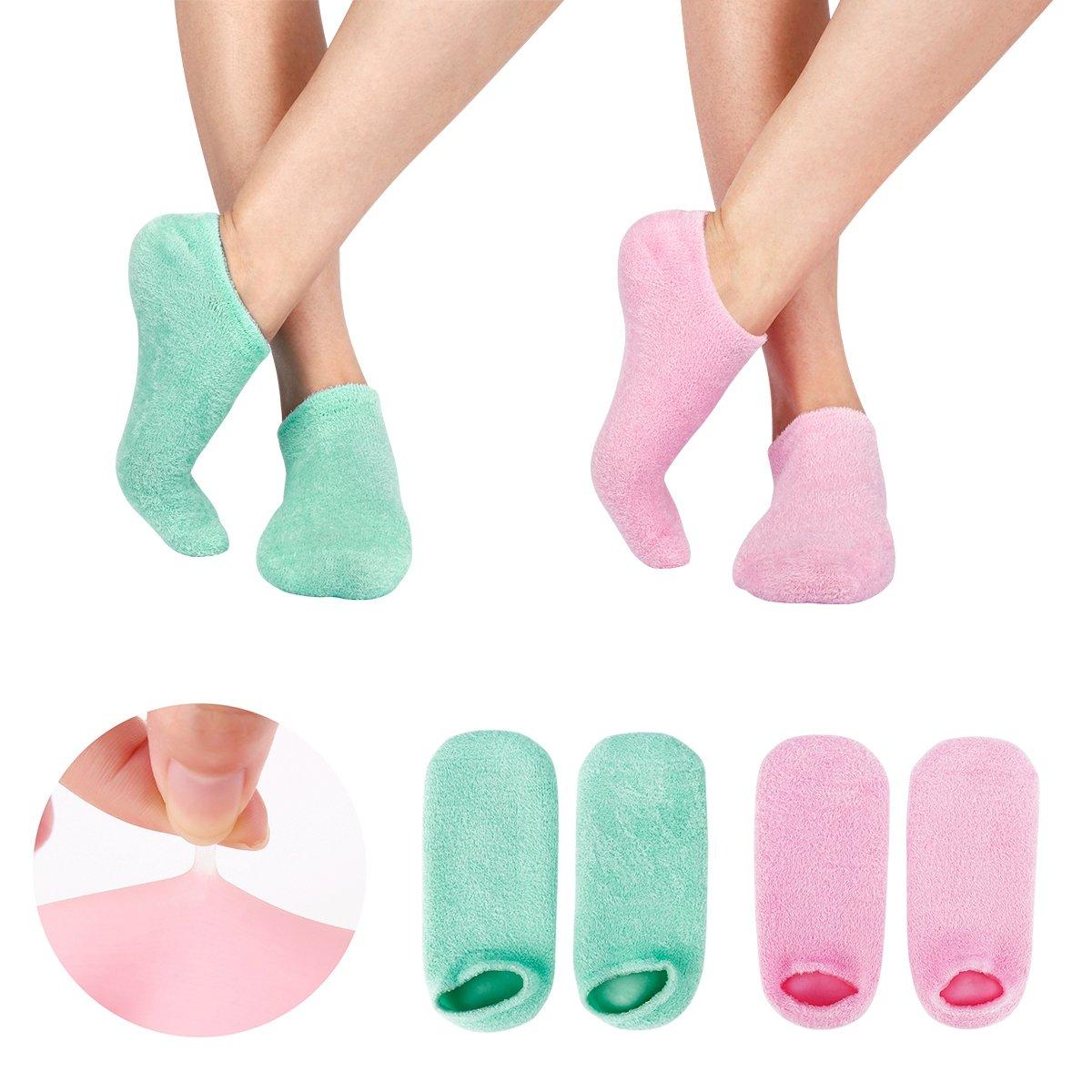 2 Paar Feuchtigkeitsspendende Gel-Socken mit Spa-Qualität Gel für Feuchtigkeitsspendende Vitamin E und Öl Infundiert Helfende Reparatur Trockene Gebrochene Peeling Schwielen und abgestorbene Haut (GREEN+PINK) Happon