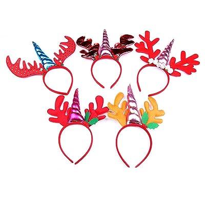 Christmas Unicorn Headband, Patedan 5pcs Red Reindeer Antler Party Dressing Elk Hairhoop for Girls Kids Adult