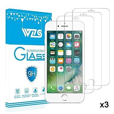 0d4f6ed5e2e [3-Pack] Protector de Pantalla iPhone 8 Plus / 7 Plus / 6S Plus / 6 Plus,  WZS® Cristal Vidrio Templado Premium Para Apple ...