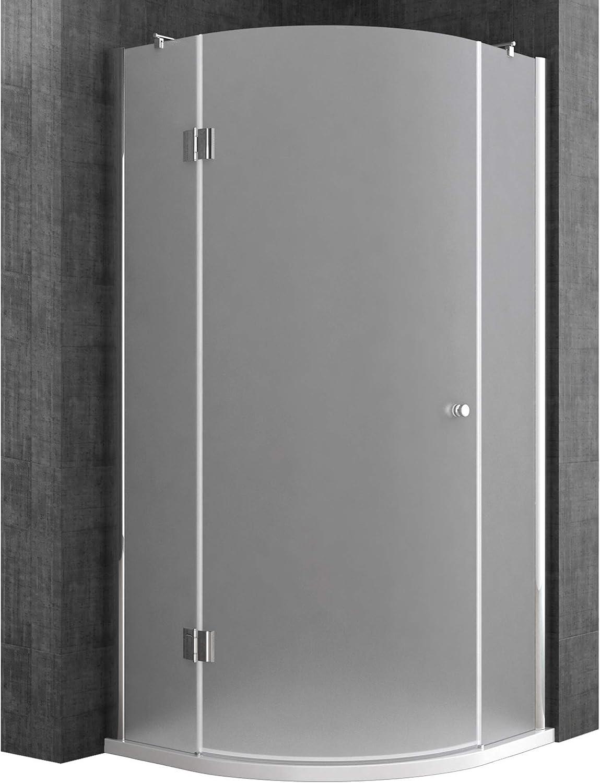 Sogood Cabina de ducha de cuarto de círculo Rav06S 80x80x190cm, mampara de vidrio de seguridad en satén | Con revestimiento - Nano: Amazon.es: Bricolaje y herramientas