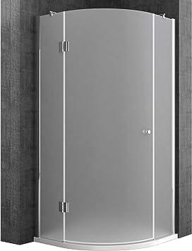 Sogood Cabina de ducha de cuarto de círculo Rav06S 80x80x190cm, mampara de vidrio de seguridad templado en satén   Con plato de ducha plano de 4cm blanco: Amazon.es: Bricolaje y herramientas