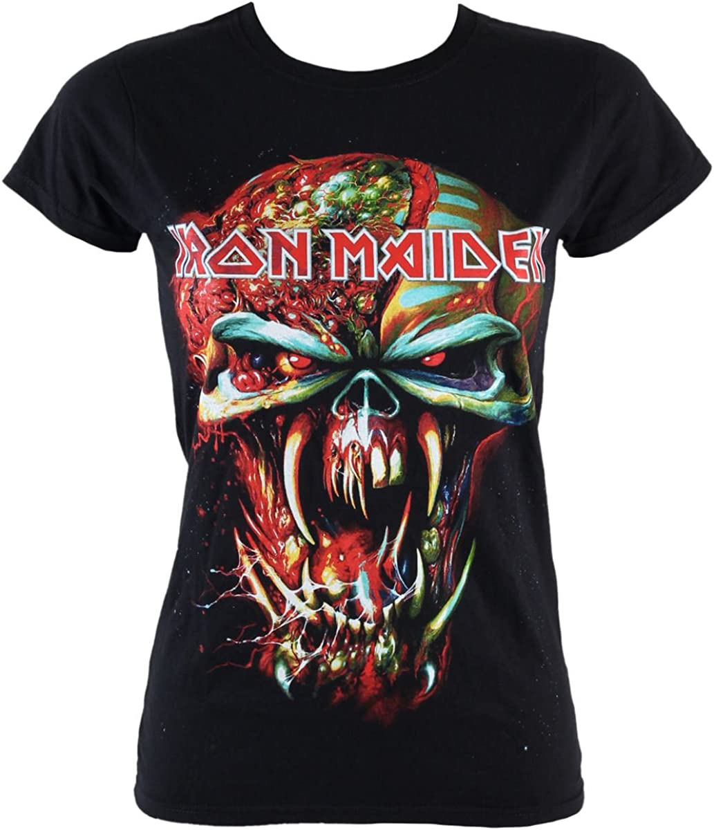 Rock Off - Camiseta de Metal para Mujer Iron Maiden – Final Frontier Eddie IMTEE18LB - Negro - Medium: Amazon.es: Ropa y accesorios