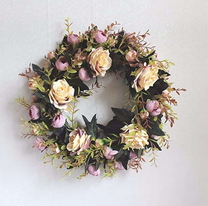 Wreaths For Front Door Decoration Christmas Wreath Artificial Flowers Wreaths Door Display Spring Easter Summer Decoration Diy Vintage Home Holiday Wedding Wall Party Festival Decor Light Purple Amazon Co Uk Kitchen Home