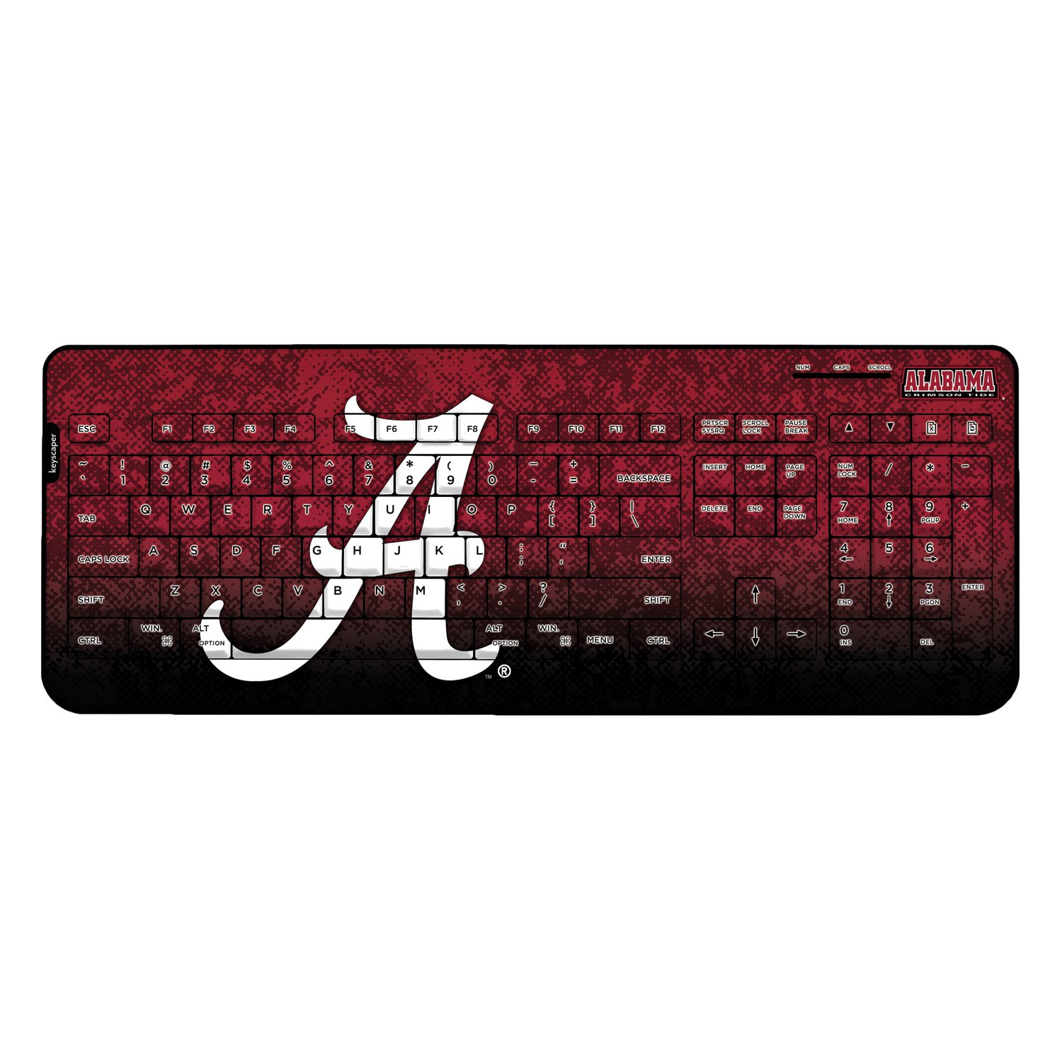Alabama Crimson Tide Keyscaper Wired Keyboard officially licensed by the University of Alabama Full Size Low Profile Direct Print Plug & Play by keyscaper®