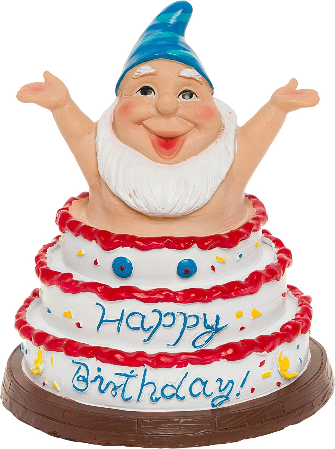 GreenLighting Happy Birthday Garden Gnome Outdoor Figurine - Hand Painted Funny Novelty Lawn Statue Decoration for Front Yards, Flowerbeds and Offices