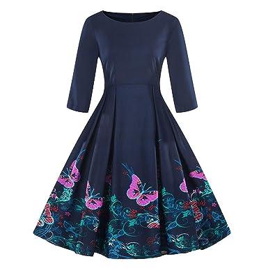 Vintage Kleding.Dress Plus Size 3 4 Sleeve Vintage Dress Floral Print Retro Swing