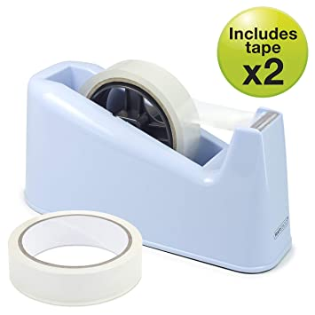 Rapesco Accesorios - Dispensador de cinta adhesiva grande mas 2 rollos, color azul: Amazon.es: Oficina y papelería
