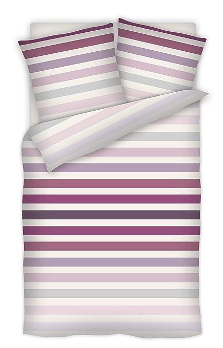 c42d37d81e3 RF Basic Satin Bed Linen Cotton Zip Stripes Berry 135 x 200 + 80 x 80 cm   Amazon.co.uk  Kitchen   Home