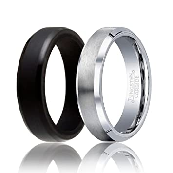 soleed set of 2 1 tungsten wedding band and 1