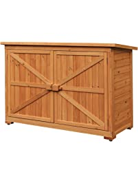 merax wooden garden shed wooden lockers with fir wood natural wood color u2013double door