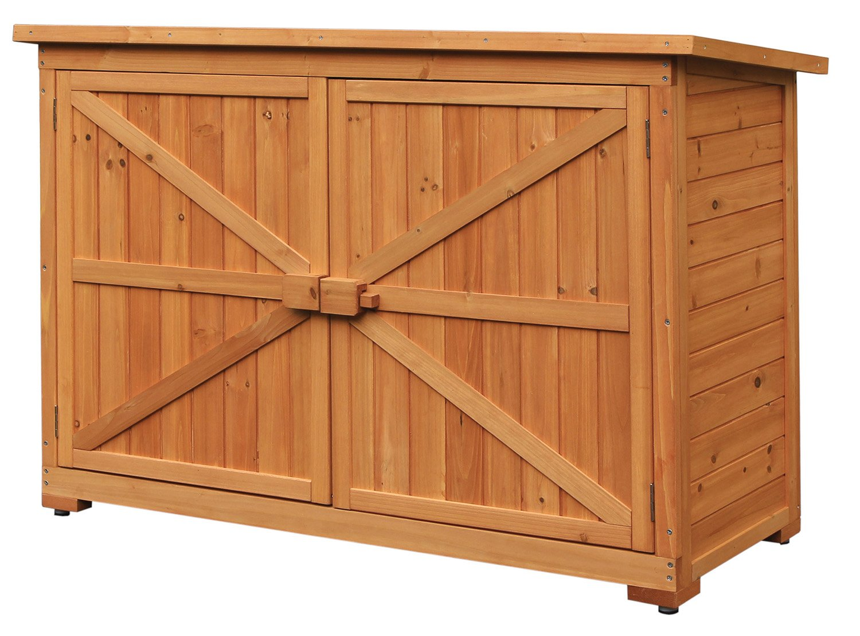 Merax Wooden Garden Shed Wooden Lockers with Fir wood (Natural wood color –Double door # 2)