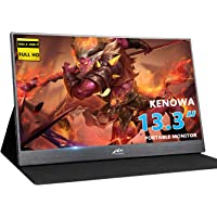 Monitor Portable Kenowa 13.3 inch Slim Monitor HD 1920 * 1080 IPS Gaming Monitors with Port Dual Type-c (USB-C)/Dual USB/HDMI Video Input/Window 7 8 10 Built-in Speaker OS PC PS3 PS4 Xbox Game etc