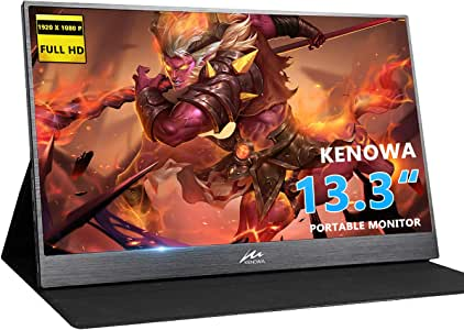 13.3 inch Portable Monitor Kenowa 1920x1080 Computer Gaming Display Monitors HD IPS with Dual Type-C/USB-C HDMI Video Port/Window 7 8 10, for PC PS3 PS4 Xbox 360, Ultra Slim Built-in Speaker