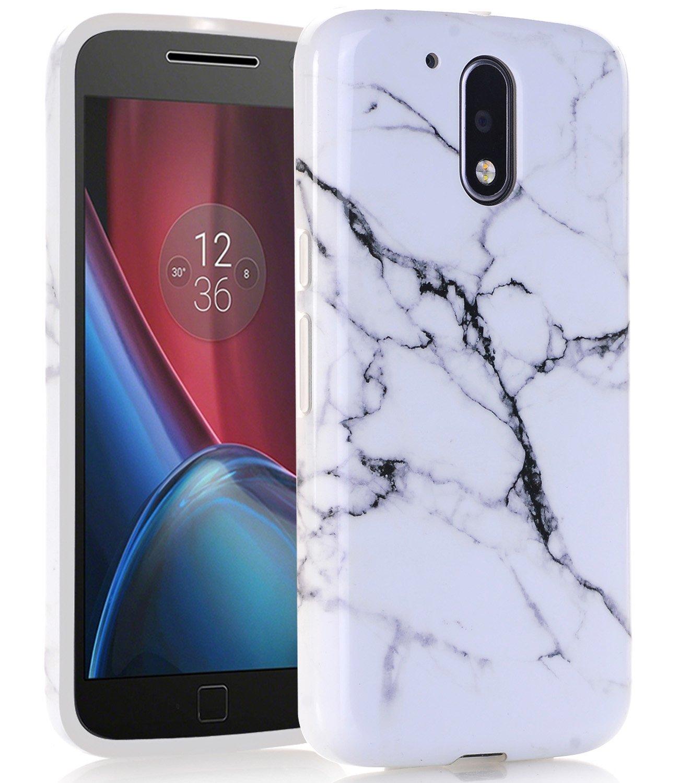 online store 22656 4f375 MOTO G4 Plus Case, White Black Marble Creative Design, BAISRKE Slim  Flexible Soft Silicone Bumper Shockproof Gel TPU Rubber Glossy Skin Cover  Case for ...