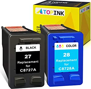 ATOPINK Remanufactured Ink Cartridge Replacement for HP27 28 Work with DeskJet 3520 3650 3845 3550 3420 3745 3847 3320 3740 OfficeJet 5610 4315 5600 5520 PSC 1315 1310 2200 2170 (Black, Tri-Color)