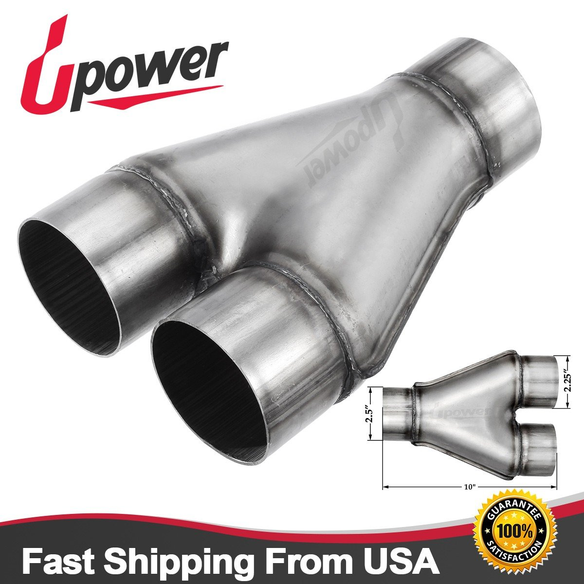 Upower Stamped Exhaust Ypipe Universal Stainless Steel Pipe w/Inlet 2.5' outlet 2.25'