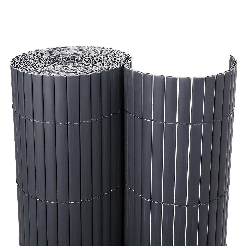Songmics PVC Sichtschutzmatte für Garten Balkon Grau 90 x 500 cm