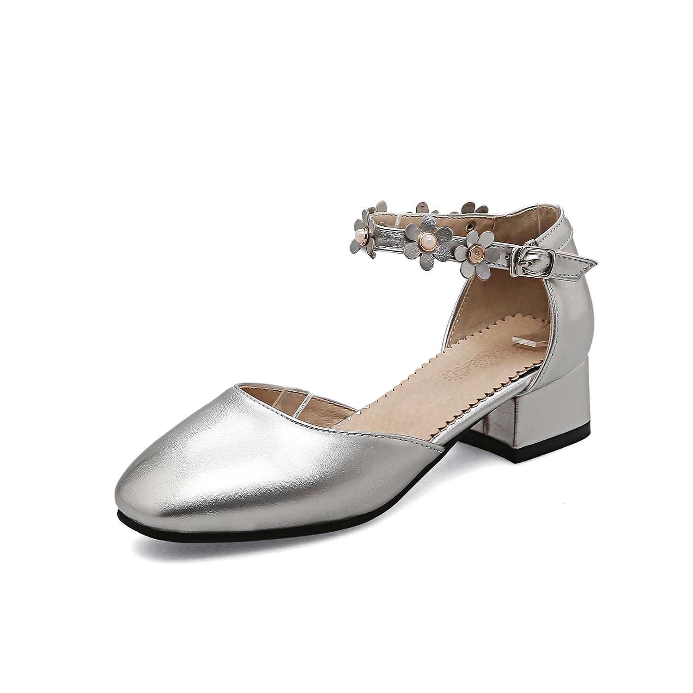 QIN&X Silver  Damens's Niedrig Heel Riemchen Sandalen Silver QIN&X 0e2181