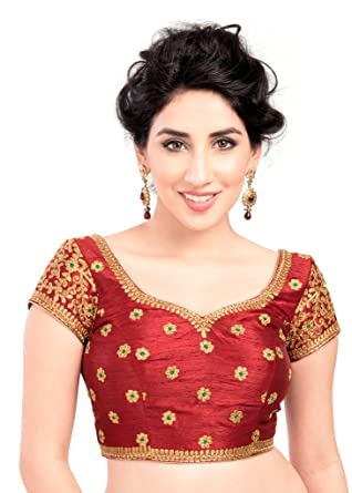 ddba0dd21a2f2c Amazon.com: Bollywood Blouses Women's Designer Simple Embroidery Saree  Blouse Maroon: Clothing