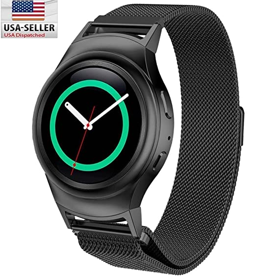 Samsung Gear S2 RM-720 Watch Band, BESTeck Milanese Magnetic Loop Stainless Steel Watch Strap + Connector Metal Adapter for Samsung Galaxy Gear S2 ...