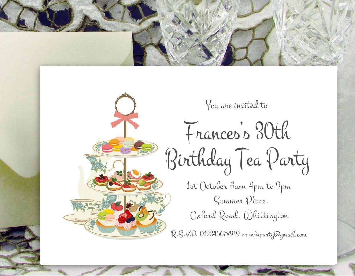 50 PARTY INVITATIONS Personalised for You. Tea Party Birthday ...