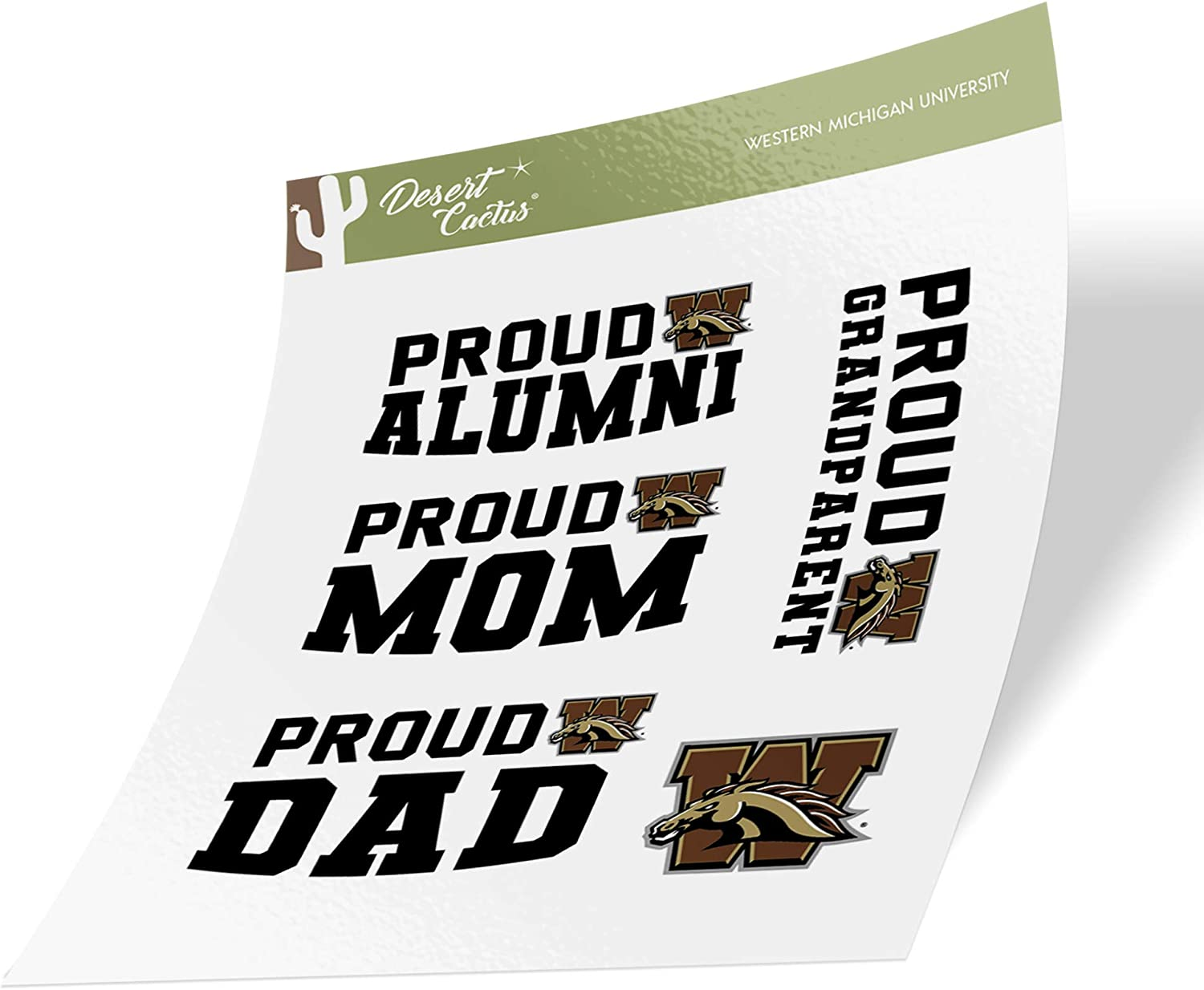Western Michigan University WMU Broncos NCAA Sticker Vinyl Decal Laptop Water Bottle Car Scrapbook (Family Full Sheet)
