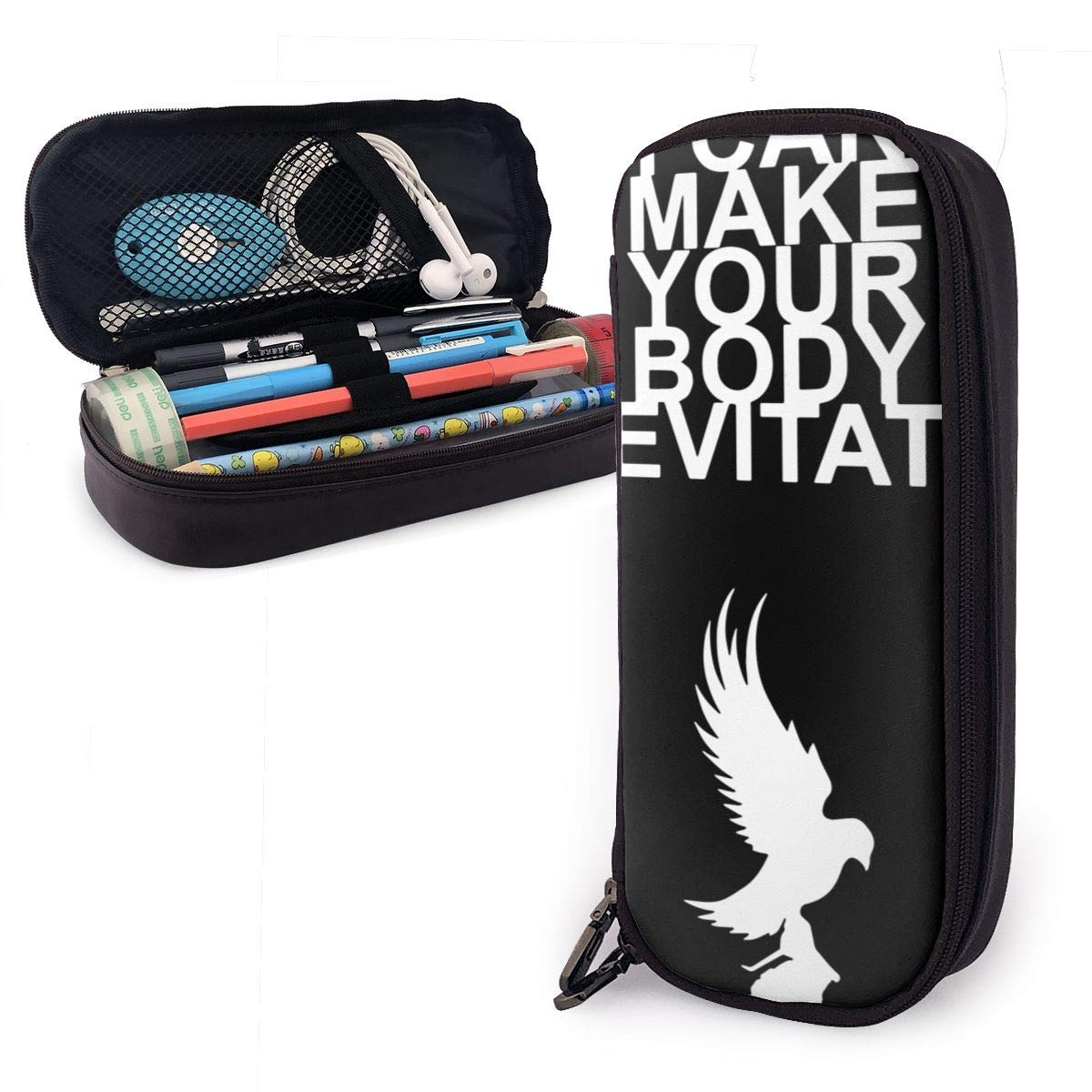 Hollywood Undead Dove and Grenade PU Leather Pencil Case with Zipper, Pouch Stationary Bag for Middle High School College Student Office Girls Boys Kids Adult,Storage Bag Makeup Bag