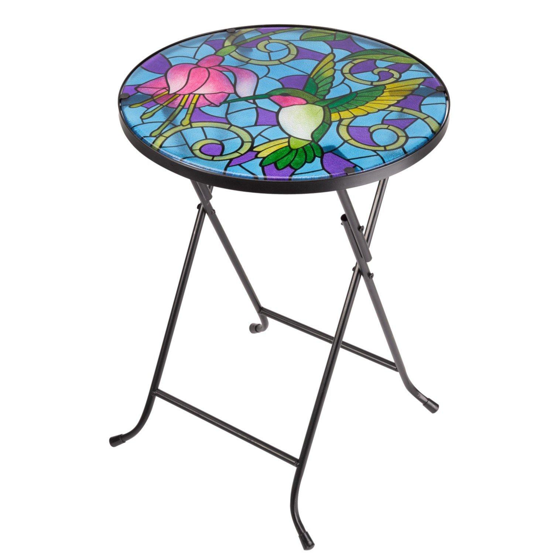 Folding Glass Garden Side Table Outdoor Patio Decking Hand-Painted Hummingbird Design Smart Garden