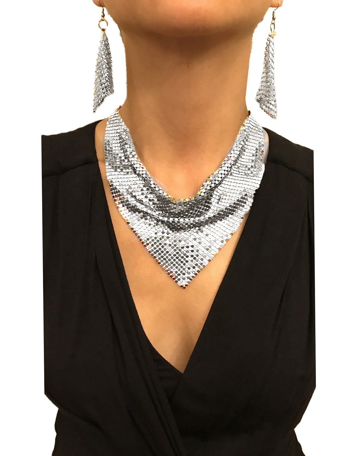 Nataliya Silver Metal Mesh Scarf Necklace Earring Set (silver mesh choker necklace set)