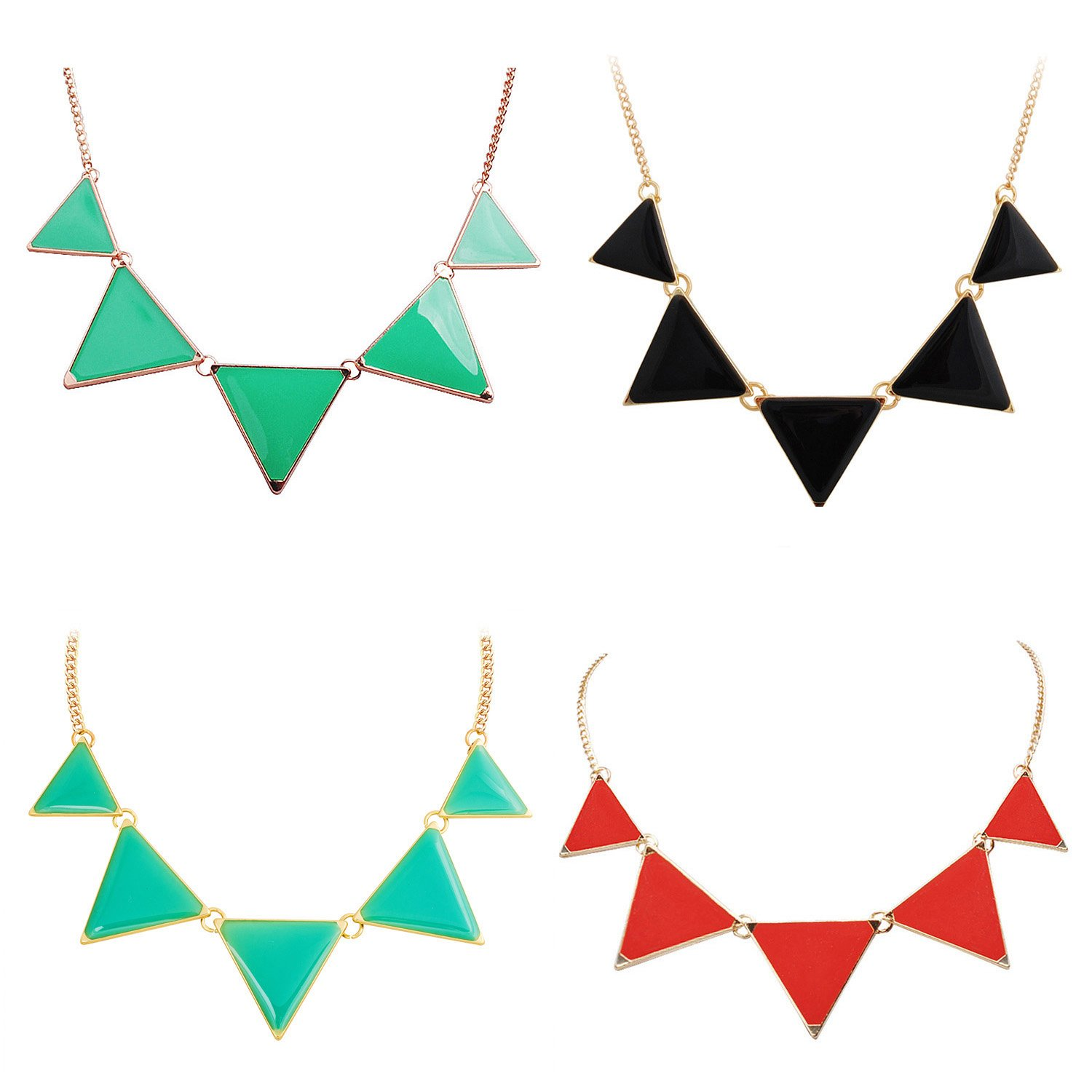 Jane Stone 4PCS Fashion Bubble Bib Collar Necklace Triangle Statement Necklace for Women(Fn0568-4set)