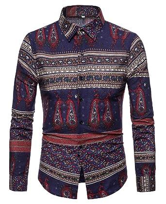 Men S Slim Fit Long Sleeve Button Down Shirt Boho Dashiki Dress