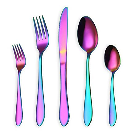 HOMQUEN Juego de cubiertos/cubiertos de colores, 30 piezas Juego de cucharas de acero
