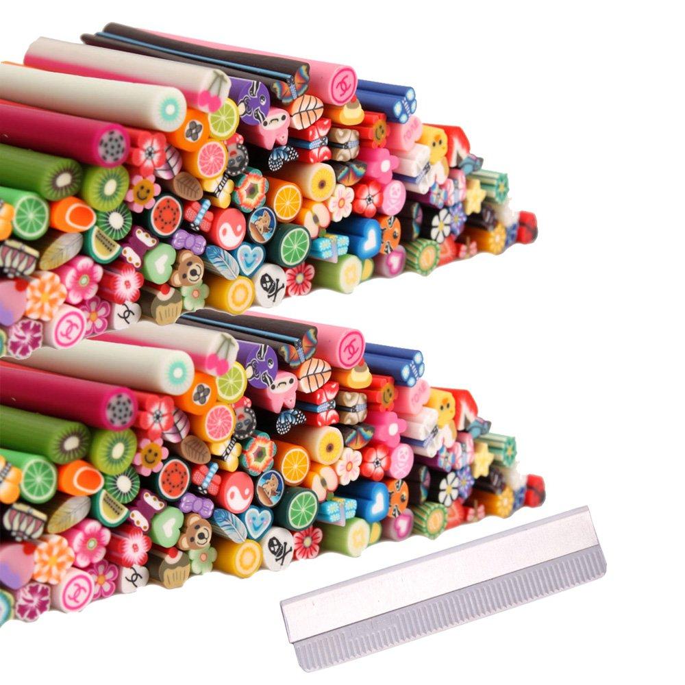 200pcs 3D Cute Designs Nail Art Fimo Canes Sticks Stickers Rods Gel Tips Manicure Decoration + Blade